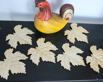 Set of 6 Golden Metal Tree Leaves-Wall Art, 6 metal maple leaves, wall leaves, wall decor, wall hanging leaves