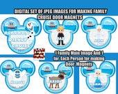 Digital Set of Family Cruise Door Mouse Heads DIY Cruise Door Magnets Family Door Magnets Frozen DIY Mickey Ears Door Magnets Anna Elsa Olaf