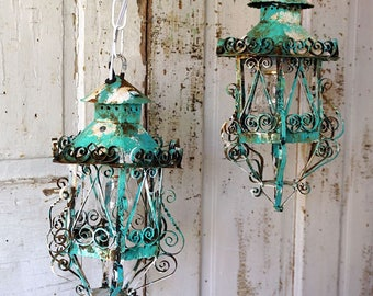Electric lantern lighting swag set ornate shabby cottage chic rusty distressed aqua Caribbean blue white up cycled decor anita spero design