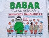 Vintage 1980s Babar Does Lunch HBO White T-Shirt M Fruit of the Loom 100% Cotton