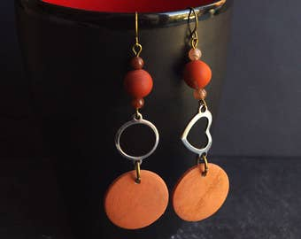 red brown jasper earrings // rust dangle // Drop wood earring // heart  charm // orange jewelry // mismatched earring rustic aventurine
