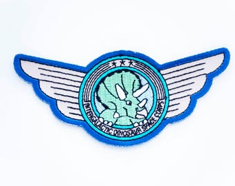 Triceratops Space Pilot Wings dinosaur patch. designosaur space patch. woven patch. embroidered patch. dinosaur flair. NASA dinosaur badge.
