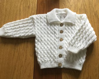 White baby sweater. White baby Cardigan.Baby sweater. Cardigan with collar. Beautiful hand knitted white baby sweater. READY TO SHIP.