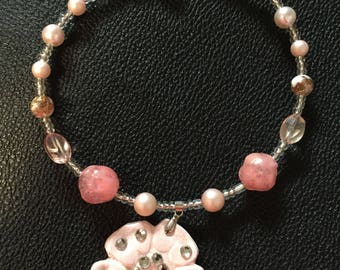 Remembrance Pink Flower Necklace