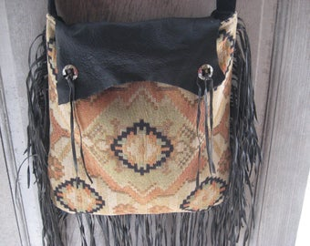 Southwest handbag, black leather, hand made fabric leather purse, hippie fringed bag, boho bag, bohemian purse, gypsy handbag, shoulder bag