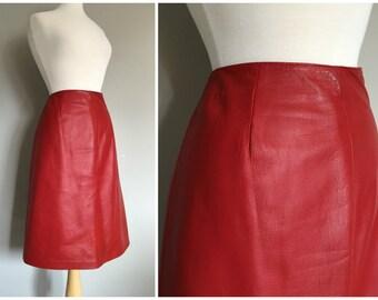 Vintage LIPSTiCK RED LEATHER MIDI Skirt/size Medium-Large