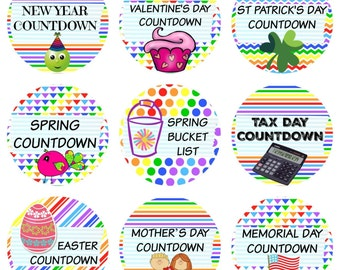 108 Planner Stickers -- Countdowns for New Years, Valentine's Day, Spring, Easter, Tax Day, Easter, Mother's Day & More!