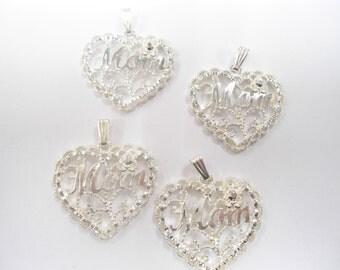 4 Silverplated Mom Heart Pendants