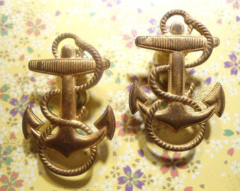 2 Vintage Brass U.S. Navy Anchor Pins Brooches