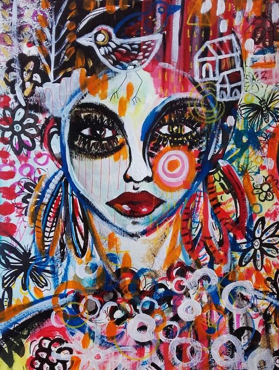 femme peinture portrait femme visage art contemporain. Black Bedroom Furniture Sets. Home Design Ideas