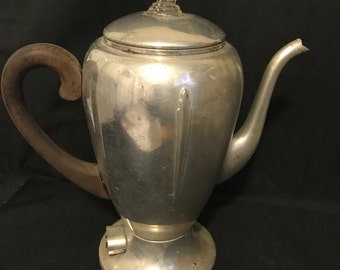 "Vintage Coffee Pot Aluminum Metal Retro Coffee Maker ""SALE"" Vintage Condition Rusty inside."