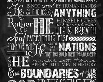 Scripture Art - Acts 17:24-27 ~ Chalkboard Style (long format)