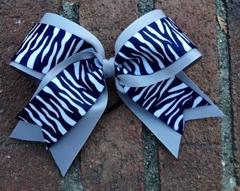 Gray and Navy Zebra striped Cheer Bow