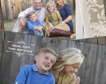 Burlap and Lace Christmas Cards, Shabby Chic Christmas Cards, Photo Christmas Cards, Christmas Cards, Boho Christmas Card