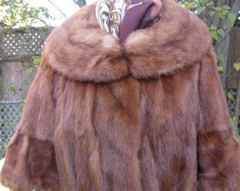 SALE 1950~60s Mink Red Short Shawl Collar Fur Jacket Coat. Lined fur jacket Size Med Chest