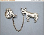 Sterling Taxco Brooch - Siesta Man Donkey Chatelaine Pin -  Signed Maricela Tasco Mexico