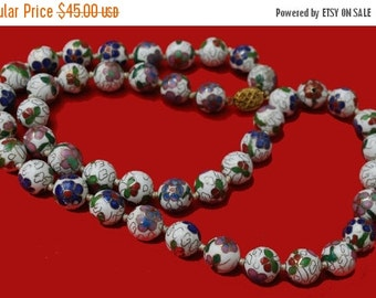Cloisonne flower Bead Necklace White Blue Green purple gold Enameling Hand knotted beads