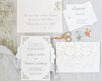 Blush Wedding Invitation - Classic Wedding Invitation, Elegant Wedding Invites, Blush and Gray, Classic Invitations, Wedding Invitationss