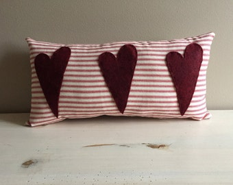 Handmade 3 Heart Valentine Red Ticking Pillow