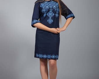 NEW Ukrainian COLLECTION 2017 Vyshyvanka linen dress, Ukrainian cross-stitch embroidered dress, Stylish dress. Вышитое платье крестиком
