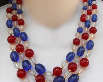 Vintage 1960's 3 Strand Lucite Red White Blue Bead Necklace