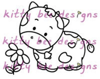 Smelling the Flower Kal-Bee Cow Digital Stamp