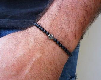 Skull Bracelet - Mens Bracelet - Hematite Bracelet - Matte Black Bracelet - Gunmetal Bracelet - Gemstone Bracelet - Gift for Him