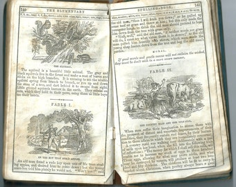 Antique Book for Scrapbooking - 1866 Elementary Spelling Book - Noah Webster - Rag Paper - Nice Illustrations - Ephemera Supply