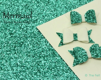 "Chunky Glitter Fabric Sheet / Coarse Glitter Canvas / Teal Glitter (""MERMAID"") / DIY Glitter Bows and Hair Accessories"