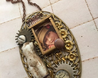My Sisters Attic A Mixed Media Doll Pendant Necklace Wearable Art Neclace Victorian Jewelry Art Necklace On Etsy Jeweley