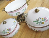 Vintage Floral Enamelware Brass Cookware Set of 5 pieces Very good   China Galore enamelware pots