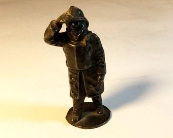 John Hill & Co Life Boat man, RNLI Lead Figure c.1950, Black painted hollowcast sailor, Lead toy