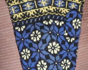 Latvian Ethnic wool gloves  Vintage and woven Blue yellow
