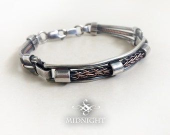 Viking Knit/Weave fitted/cuff Sterling Silver and Copper Bracelet (MCB2)
