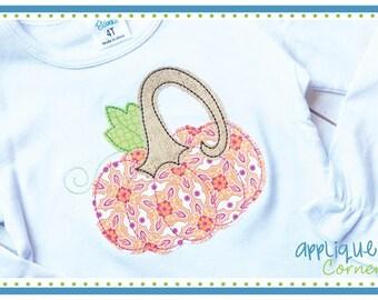 3508 Pumpkin Tall Stem Hand Stitched applique digital design for embroidery machine by Applique Corner
