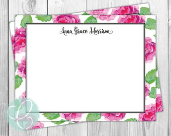 Pink and Green Floral Stationery - Flat Note Cards - Set of 12 - Personalized Thank You Card - Feminine Bridal Shower Lily Pulitzer Inspired