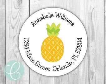 "Pineapple -  Return Address Stickers / Labels - 2"" Round Stickers - Glossy or Matte - Hawaiian Luau Birthday Girls Party Pink Flower Summer"