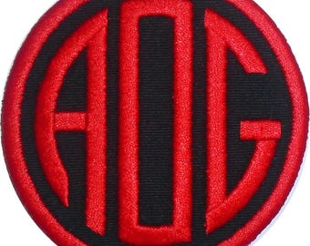 Customize Embroidered Circle Round Font Initial Monogram Iron On Applique Patch Black Fabric