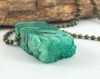 RESERVED LISTING FOR Cori- Green druzy quartz gemstone necklace, quartz necklace, square pendant, gift idea, green jewelry, body novelties