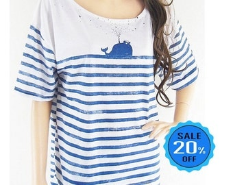 SALE Whale Fish Sea Ocean Front Short Than Blue Striped Mom Shirt Gift Graphic shirt workout tshirt funny shirt screen print size L