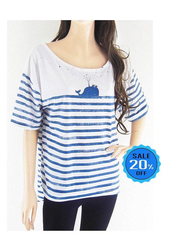Whale Fish Sea Ocean tumblr tshirt Front Short Than Blue Striped Mom Shirt Gift Graphic shirt workout tshirt funny shirt screen print size L
