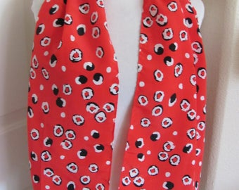 "Scarf Lovely Red Black Scarf 12"" x 48"" Long - Affordable Scarves!!!"