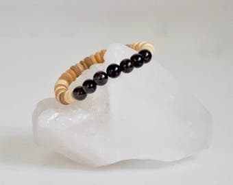 Bracelet / Garnet + Natural Coconut Shell Bracelet / Reiki Yoga Mala / KO-MALA Blacktop / Genuine Gemstone / January Birthstone