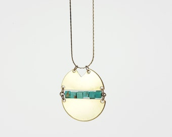 """Carizzo Necklace - Brass & Turquoise  Pendant on a 28"""" Brass Snake Chain"""