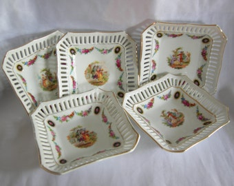 Hand Painted Pierced Reticulated Courting Couple Square Dishes Bowls | Made in Germany | Vintage Circa 1930-1940