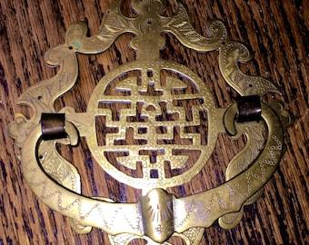 Oriental Brass Doorknocker Ornate Vintage Chinese Door Knocker