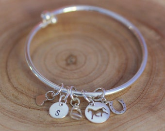 Sterling Silver Charm Bangle - Horse Charms - Equestrian Theme Jewelry - Charm Bangle Bracelet - Horse Lover Gift - Horse Theme - Horses