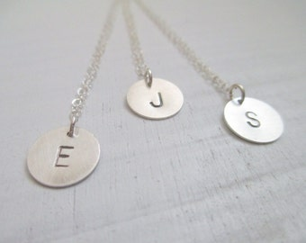 Initial necklace, silver disc necklace, simple silver necklace, personalized necklace, bridesmaid necklace, bridesmaid gift