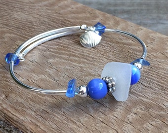 Genuine Sea Glass bracelet, blue, white Beach Glass Bracelet, Sea Glass bangle Bracelet unique gift for her,beach jewelry,thank you mom gift