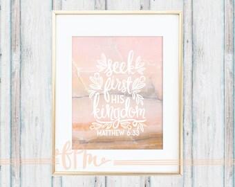 Matthew 6:33 Marble Onyx Print